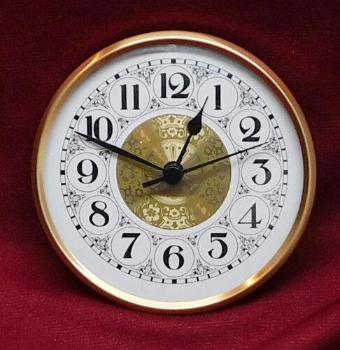 "4 1/4"" Quartz Clock Insert Fit Up Movement 108 mm Fancy White Dial GWFA4.25"