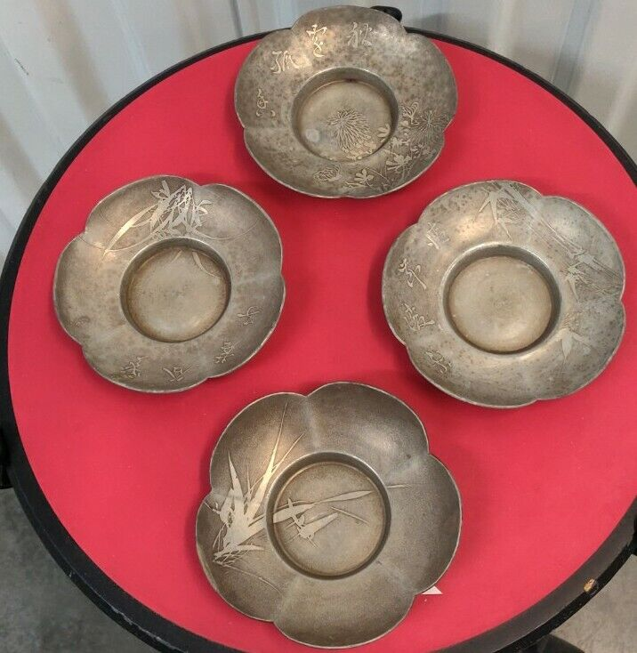 Antique Chinese Pewter Saucers Blossom Pattern