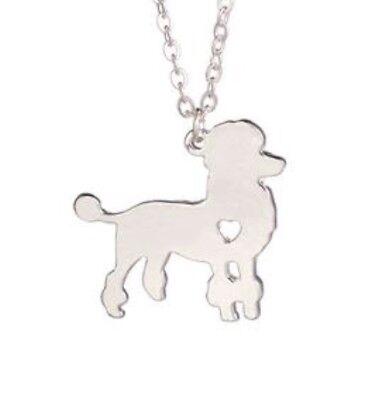 Running Poodle Pendant Dog Silver Plated Chain Necklace Gift Rescue Puppy