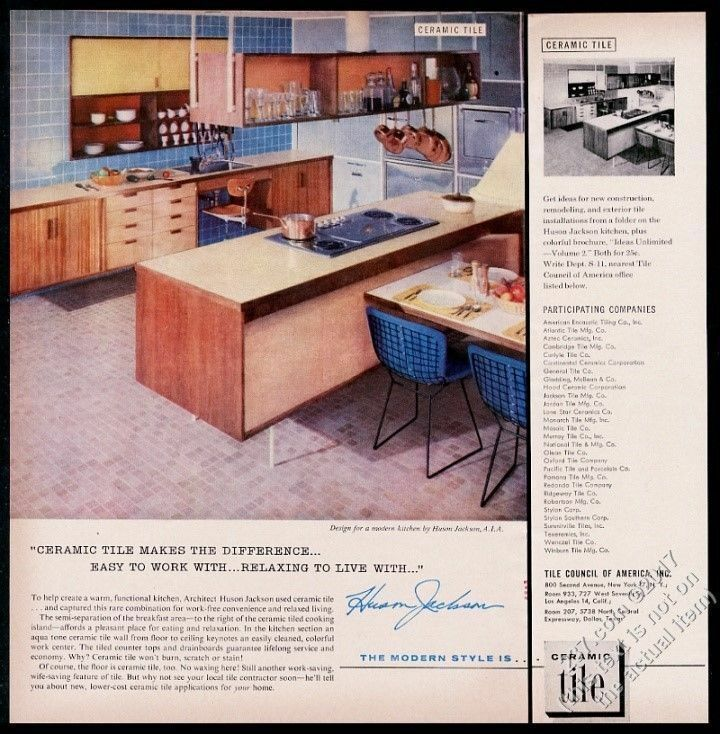 1960 Huson Jackson modern home kitchen photo Ceramic Tile vintage print ad