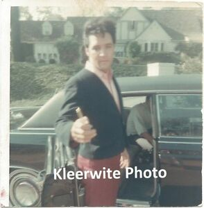 Vintage Elvis Presley Photo Candid Outside of Car and House on A KODAK PAPER
