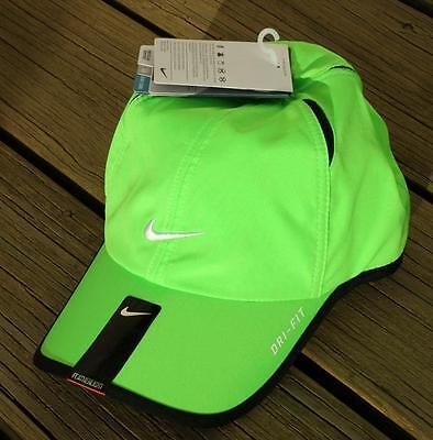 048d0d31ea NWT NIKE Dri-Fit Feather Light Running Tennis Hat Cap BRIGHT YELLOW GREEN