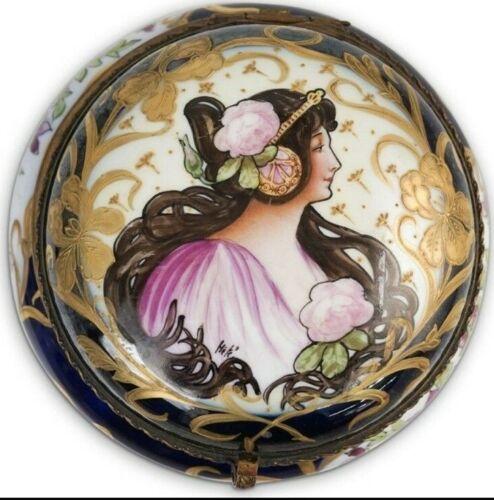 """Sevres Art Nouveau Handpainted Porcelain Box 6"""" Diam Make Offer!"""