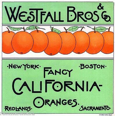 Redlands & Sacramento Westfall Bros. & Co Orange Citrus Fruit Crate Label Print for sale  La Verne