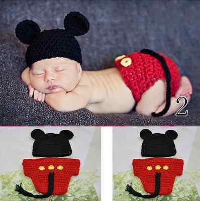 HOT New Baby Girls Boy Newborn Knit Crochet Clothes Photo Prop Outfits 0-9M +HB ()