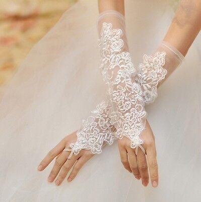 NEU Braut Hochzeit Handschuhe Lange Fingerlos Spitzen Stickerei Blumen Ivory
