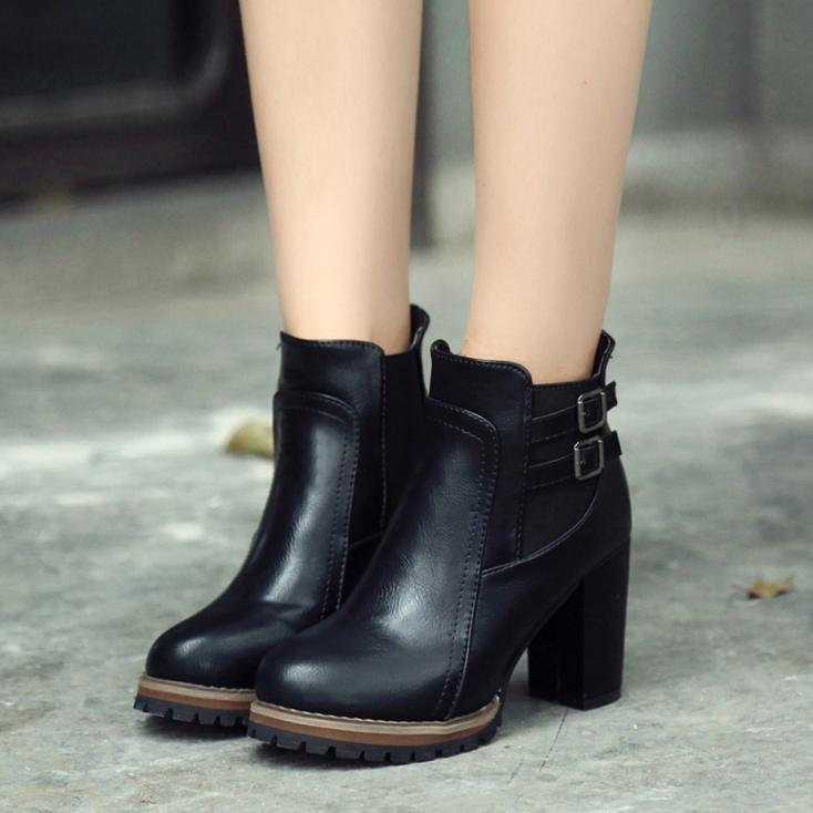 High Heeled Boots Double Breasted Women 's Shoes Ankle Boots Platform Shoes