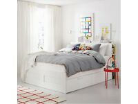 Ikea Brimnes Double Size Bed Frame and 4 Storage Drawers Bedframe White
