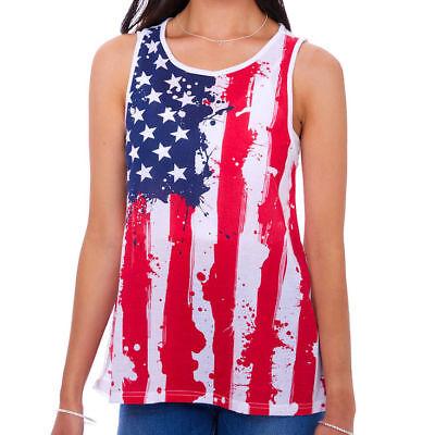 Fashion American Flag Tank Top 4th of July USA Pride America Mesh Back New