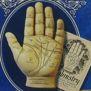 LARGE Palmistry Palm Reading Hand Small Mind Antique Style Chiromancy 09000