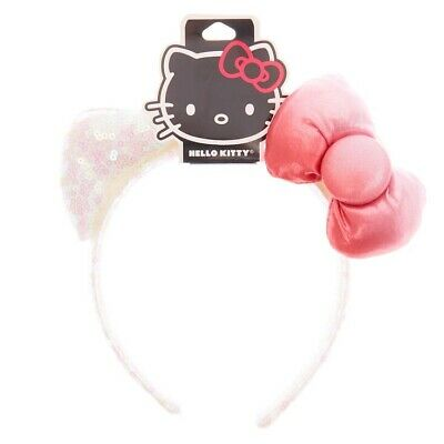 Sanrio Hello Kitty Sequin Cat Ear Bow Headband Puffy Ears Pink Bow White (Pink Hello Kitty Bow)