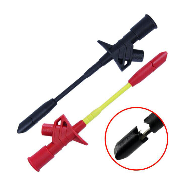2Pcs Insulated Quick Piercing Test Needle Hook Clips Multimeter Testing Probes
