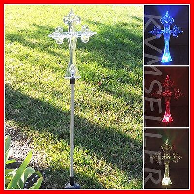 1-Piece Solar Powered Cross Garden Yard Stake ...