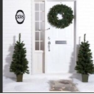 """WHOLE HOME SET OF TWO 4' CHRISTMAS TREES AND ONE 28"""" WREATH BNIB"""