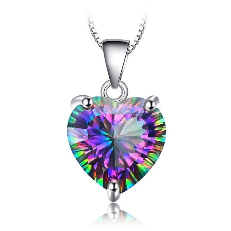 Jewellery - Heart Crystal Pendant 925 Sterling Silver Chain Necklace Womens Girls Jewellery