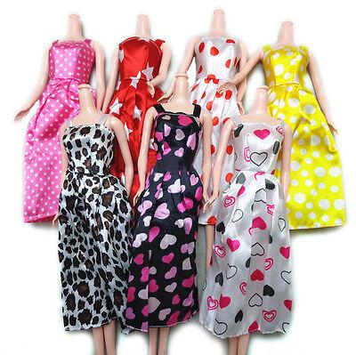 7X Charmantes handgemachtes Kleid für s Puppenkleider Accessoires Mix Color