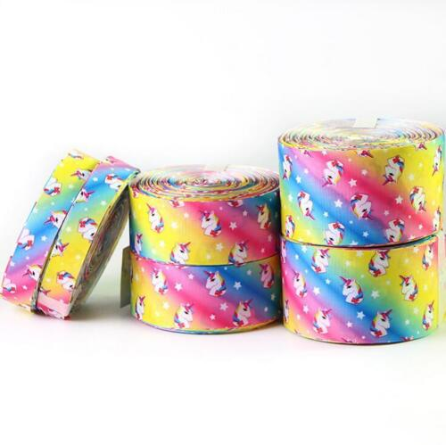 5 Yards Rainbow Unicorn Grosgrain Ribbon DIY jewelry bow Handmade Gift wrapping
