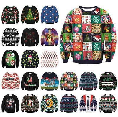 New UGLY XMAS CHRISTMAS SWEATER Vacation Santa Elf Novelly Women Men Sweatshirt