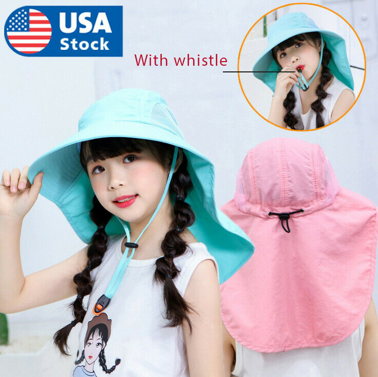 Kids Children Girls Outdoor Sun Hat UV Protection Neck Flap Cover Fishing Cap Clothing, Shoes & Accessories