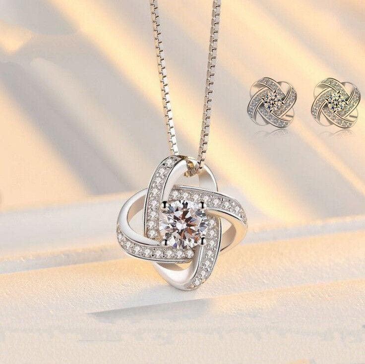 Jewellery - 925 Sterling Silver Swirl Pendant Chain Necklace Stud Earrings Womens Jewellery