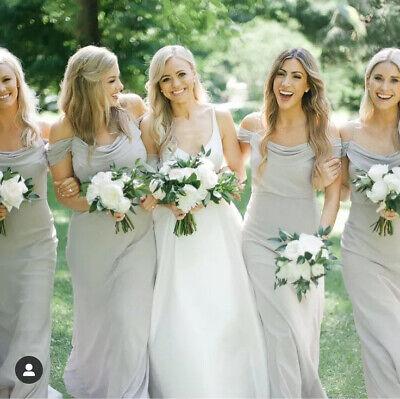 Jenny Yoo Maxi Bridesmaid Dust Sage Green Chiffon Off Shoulder Dress US 10 UK 14