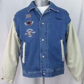 Vintage Disney Tigger Varsity Bomber Denim Jacket