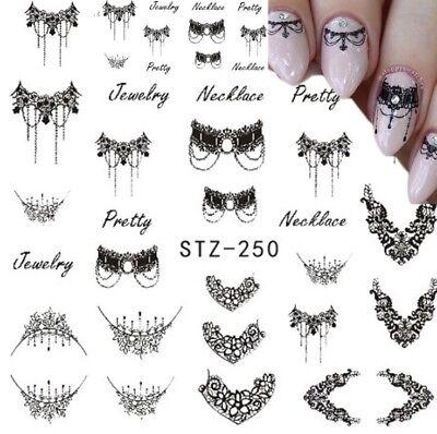 3 Stück Nagelsticker Aufkleber Tattoo Nail Art Nageldesign Schmuck Spitze - 3 Stück Designer