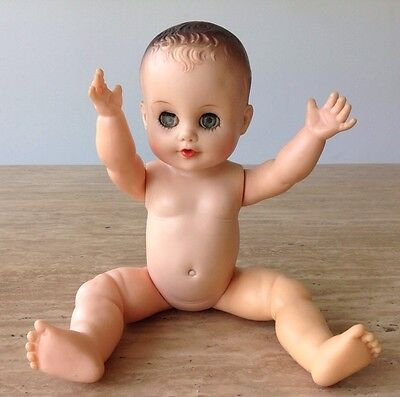 Vintage EEGEE Rubber Baby Doll Green Eyes 1950 - 1960