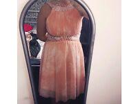 Peach floral sequin Bridesmaid dress