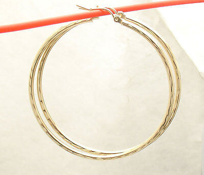 """2mm X 50mm 2"""" Large  FULL Diamond Cut Round Hoop Earrings REAL 10K Yellow Gold"""
