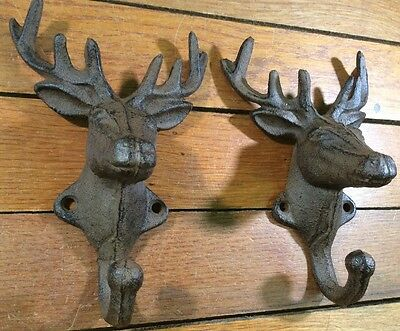 2 DEER COAT HOOKS Cast Iron Rustic Antique Style Wall Hat Rack Hanger Doe Buck