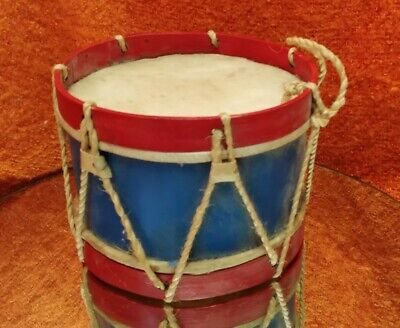 Vintage Antique Child Toy Drum Hand Made Animal Skin