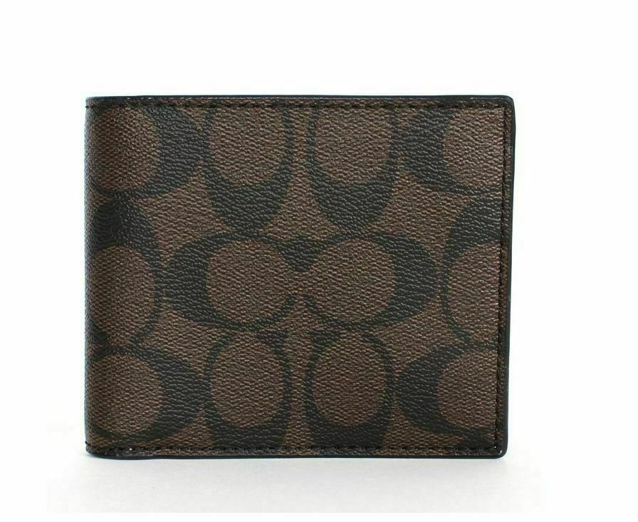 NWT Coach F25519 Signature Canvas Compact ID PVC Men Wallet Black Oxblood $175