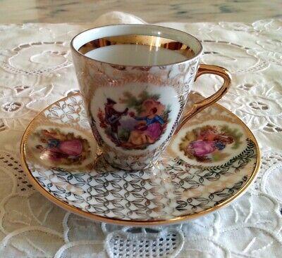 Limoges tazza tazzina caffè porcellana francese decori oro