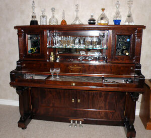 Custom Piano Bar - Re-purposed Antique Piano