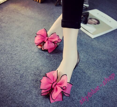4b7706a206bb Details about Ladies Peep Toe Lace Bowknot Transparent Flats Crystal Jelly  Shoes Sandal Summer