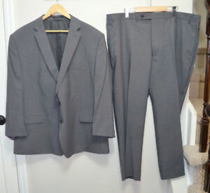 Calvin Klein Slim Fit XL 100% Wool Grey Suit with Jacket & Match