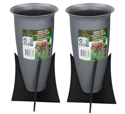 Set Of 2 Memorial Grave Vases On Stands Cemetery Crematorium Flower