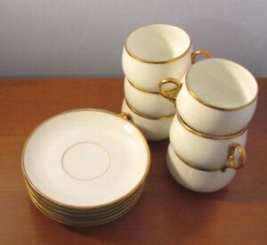 Vintage Limoges M. Renold Teacups with Saucers, set of 6