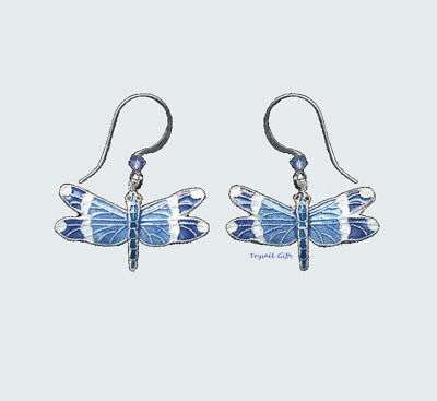Blue Banded DRAGONFLY Cloisonne EARRINGS Bamboo Jewelry STERLING Swarovski - Box