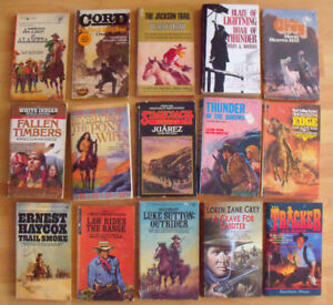 Lot E:  Fifteen (15) Paperback Western Novels; some older ones