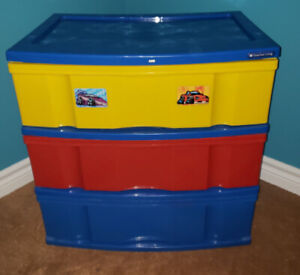 Multi Color Wide 3-Drawer Storage Unit for Kids (Chest Drawers)