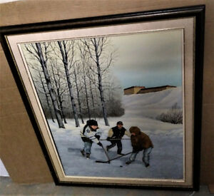 PAINTING . Beautiful Children Hockey Painting by HOWARD DUFFY