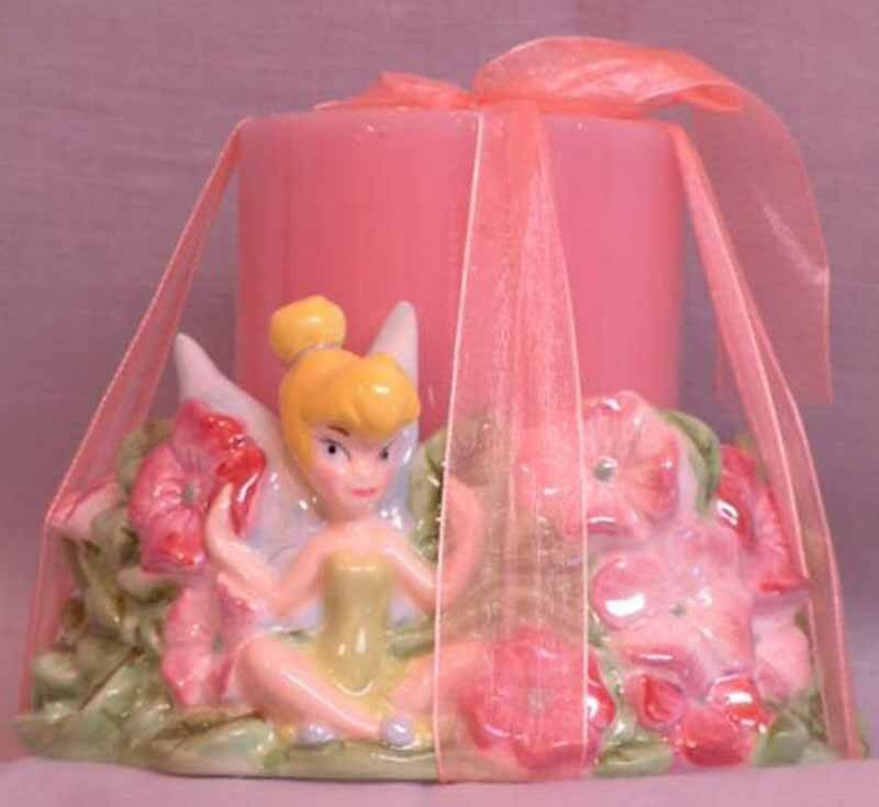 TINKER BELL CERAMIC CANDLEHOLDER WITH CANDLE TINKERBELL