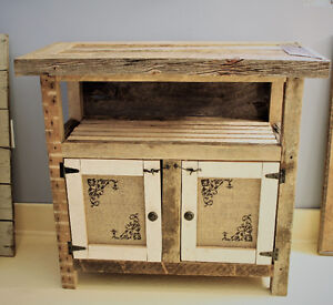 RUSTIC CABINET HANDCRAFTED FROM WEATHERED BARN BOARD
