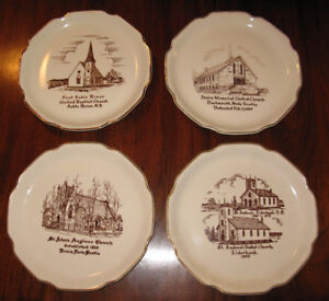 4 Vintage Ceramic Plates in 22K GOLD ! Churches of Nova Scotia