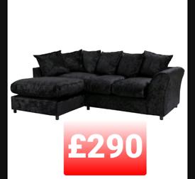 Corner sofa. Black crushed velvet.