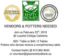 Gleaners Empty Bowls & Hand Craft Sale