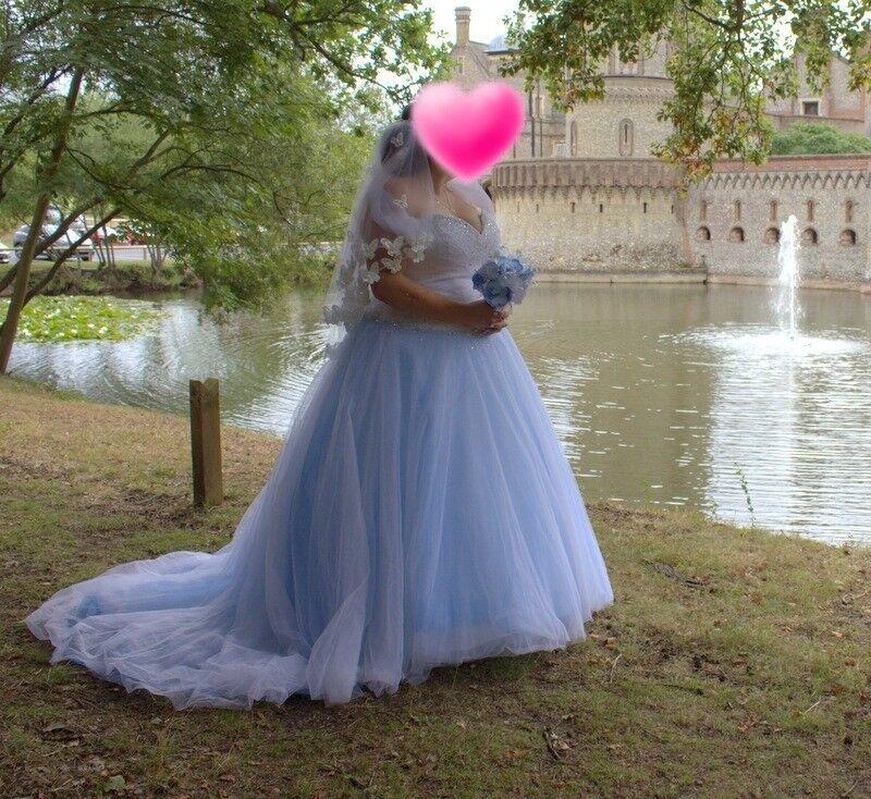 Sincerity wedding dress 3621/ plus size / size 22 / blue ...