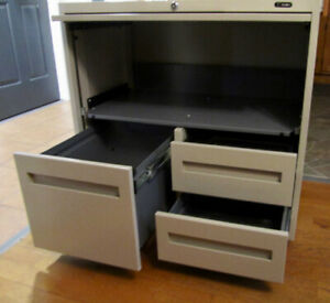 Filing cabinet (files+drawers) / TV/printer stand, on wheels
